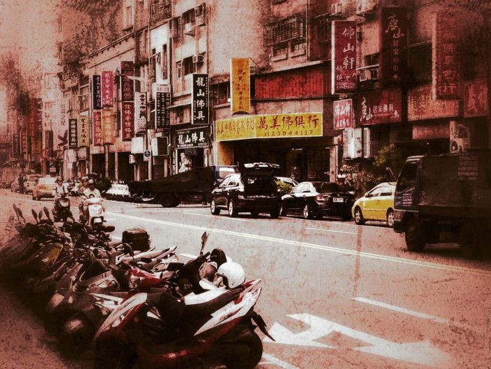 Street scenery in Wanhua District, Taipei, Taiwan.