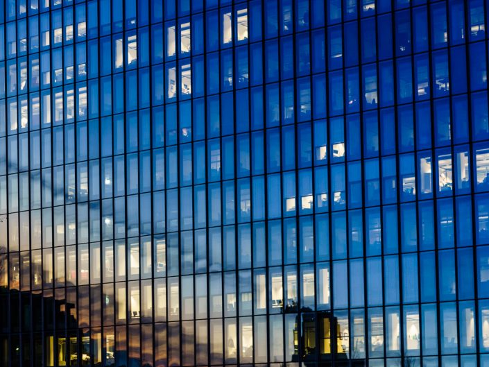 ECB glass walls during the Blue Hour. Frankfurt.