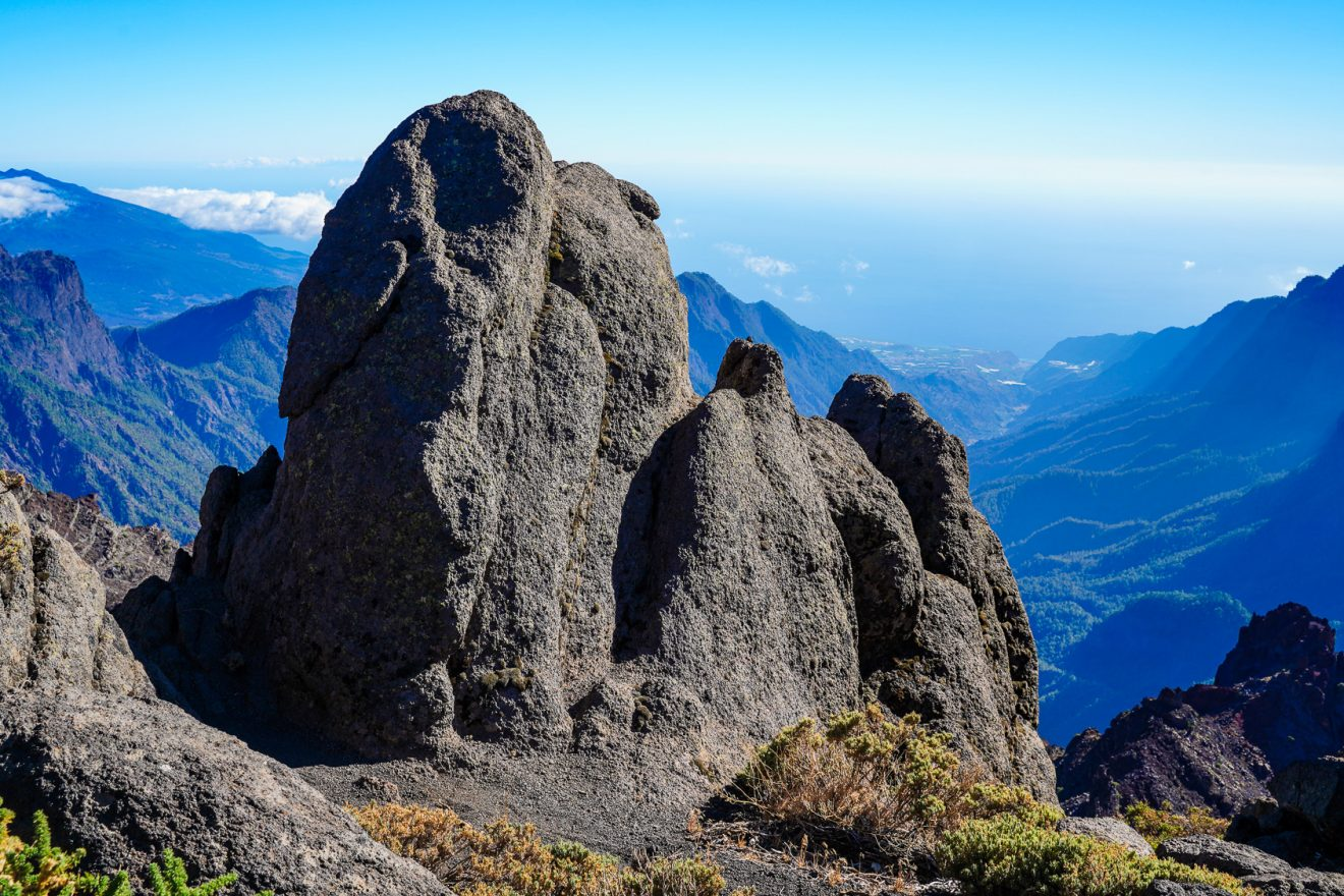 View on Caldera de Taburiente from Pico de la Cruz. La Palma, Canary Islands, Spain.