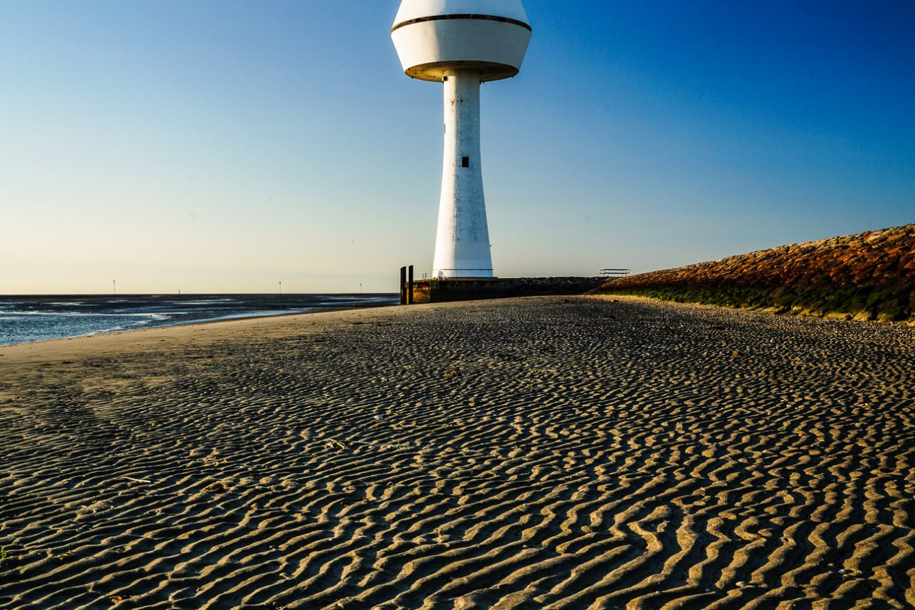 Radarturm (radar tower) on the island of Neuwerk, Hamburger Wattenmeer, Germany