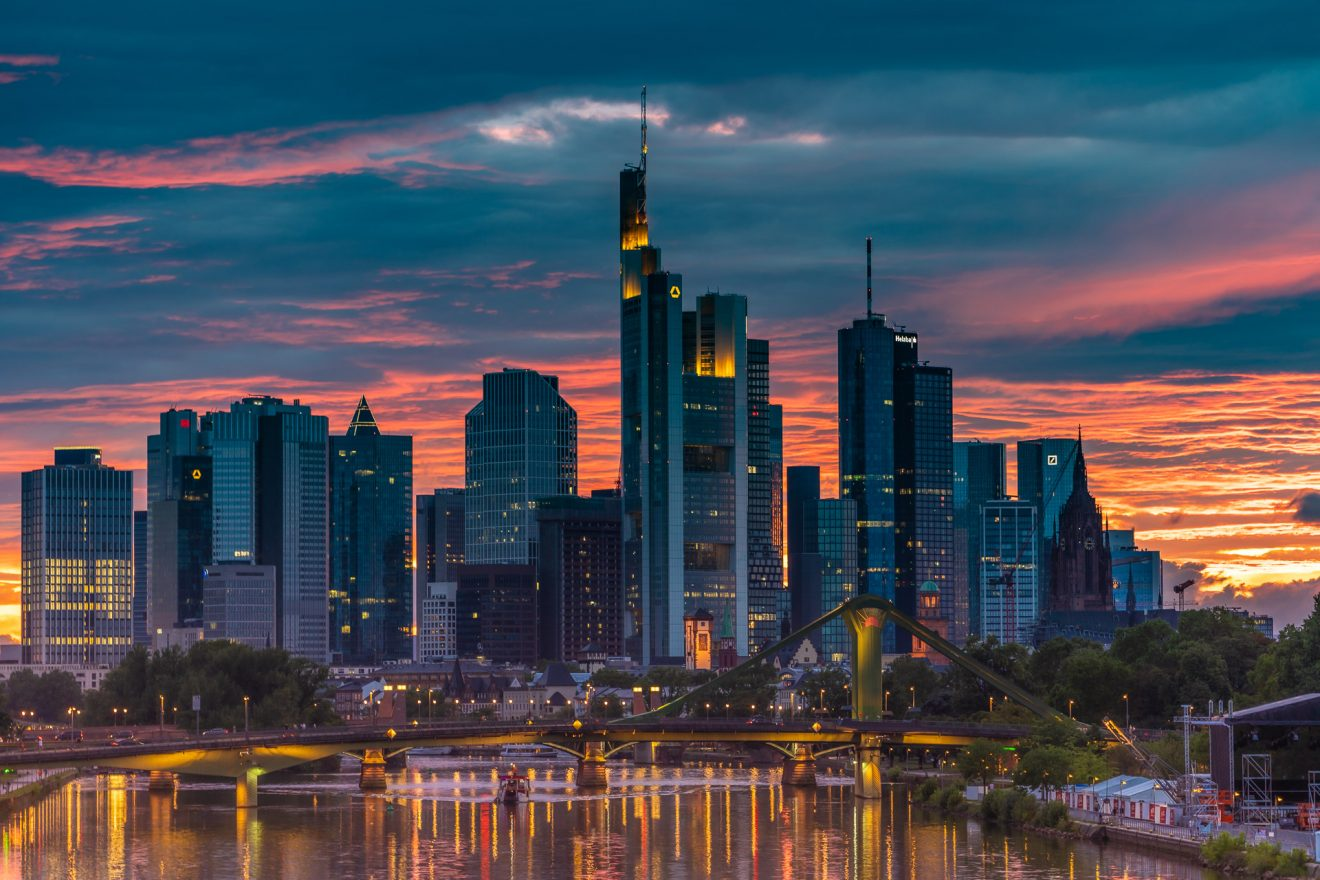 Frankfurt skyline by sunset, dramatic clouds