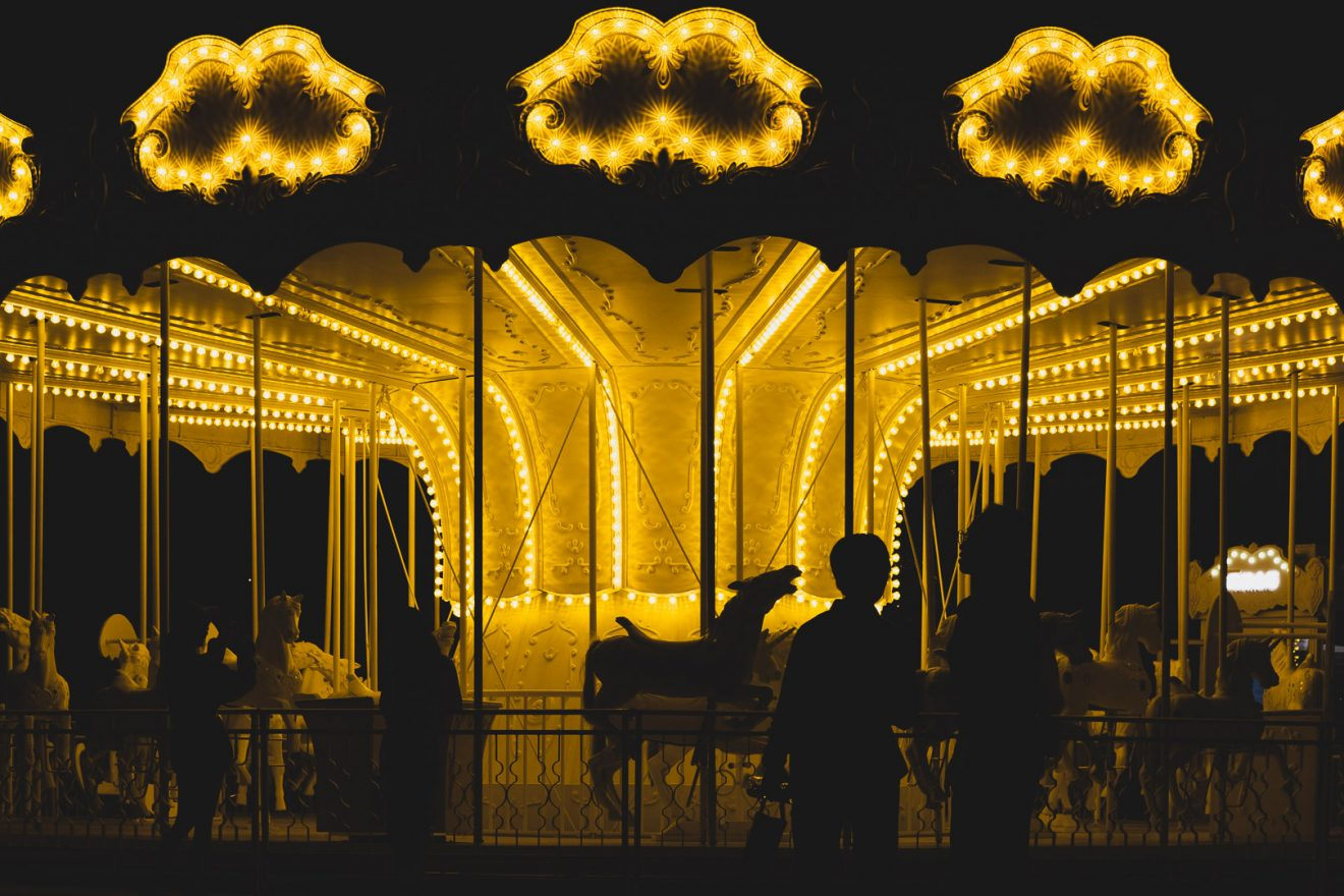 Carousel at night, yellow